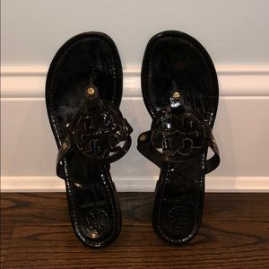 Tory Burch Miller Black Patent Leather Sandals